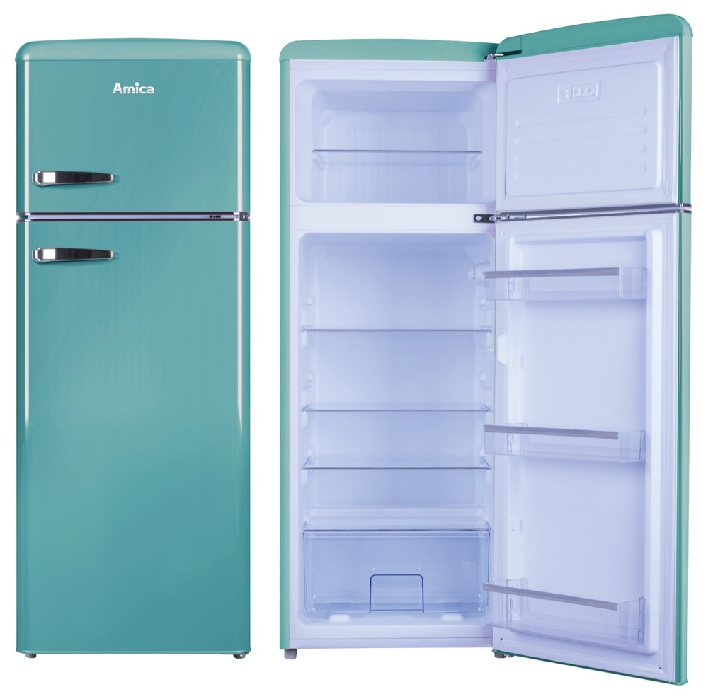amica fdr2213db 55cm fridge freezer in duck egg blue