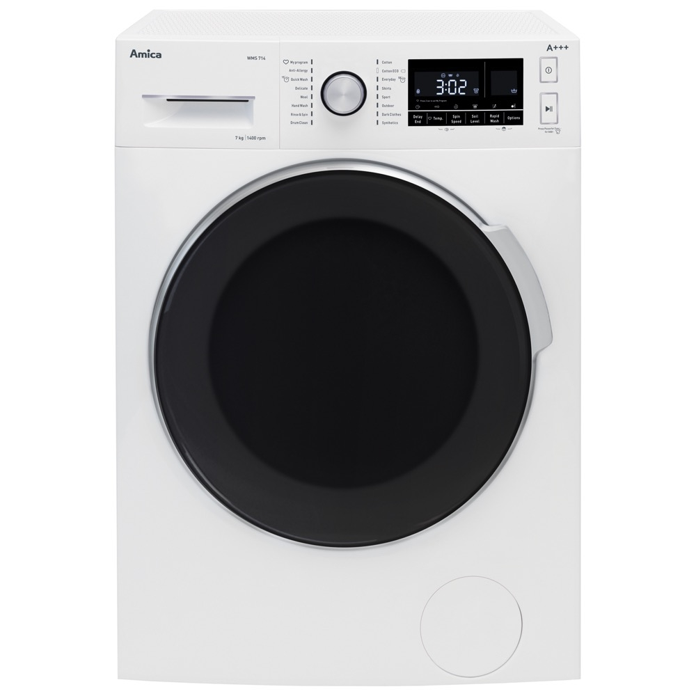 amica wms714 7kg 1400rpm washing machine in white a+++ rating