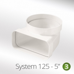 system 125-5 125mm vertical bend 90 degree round to rectangular 150x70mm