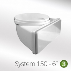 system 150-6 150mm 90degree round to flat vertical connector  220x90mm