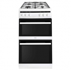 amica afg5500wh gas double oven and gas hob in white