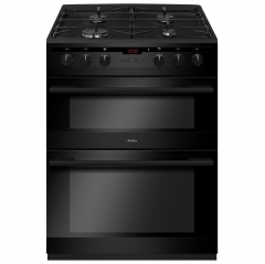 amica afg6450bl double gas oven and gas hob in black