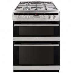 amica afg6450ss gas double oven and gas hob in stainless steel