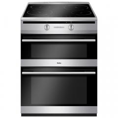 amica afn6550ss 60cm electric double oven with induction hob in stainless steel