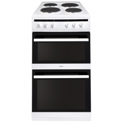 amica afs5500wh 50cm double electric oven with electric hob in white