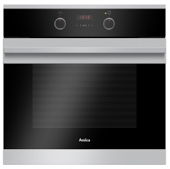 amica asc310ss single fan oven in stainless steel with timer