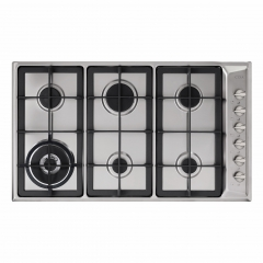 cda hg9321ss 90cm 6 burner gas hob in stainless steel