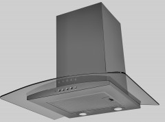 lux air la60artiscvdblk - 60cm artis curved hood in black 480m3hr