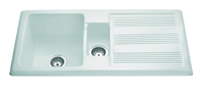 Cda Kc24wh Ceramic One And Half Bowl Sink In White